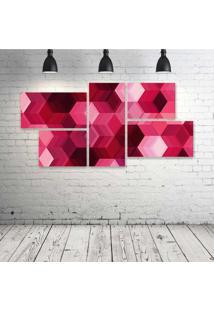 Quadro Decorativo - Cubes-Pink - Composto De 5 Quadros