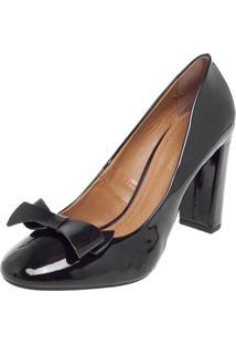 Scarpin Dafiti Shoes Verniz Laço Preto