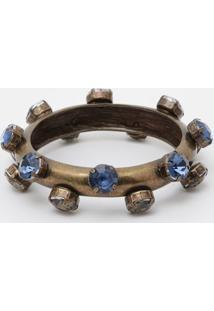 Pulseira Pedrarias- Ouro Velho & Azul- 7,7Cmeva