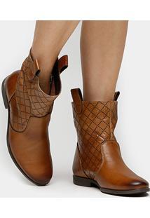 Bota Couro Cano Curto Shoestock Laser Feminina - Feminino-Caramelo