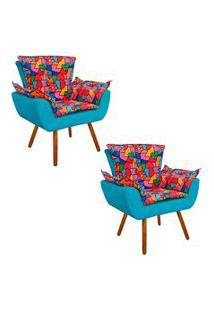 Kit 02 Poltrona Decorativa Opala Suede Composê Estampado D15 E Suede Azul D'Rossi.