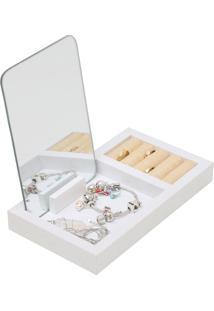 Porta Jóias Madeira Com Espelho Fantastic Box Branco 21X17,7X12 Cm Urban