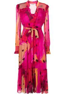 Dvf Diane Von Furstenberg Vestido Midi Meredith Com Estampa De Borboleta - Rosa