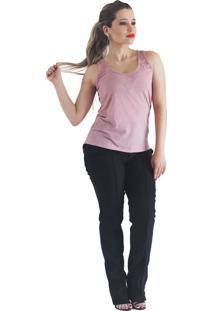 Camiseta It'S Moda Regata Assimétrica Rosa