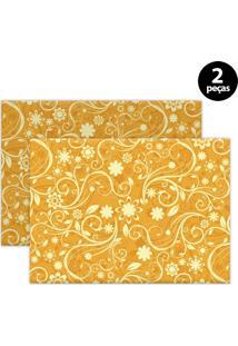 Jogo Americano Mdecore Abstrato 40X28Cm Amarelo 2Pçs