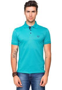 Camisa Polo Malha Tony Menswear Maquinetada De Algodão Azul Piscina