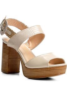 Sandália Couro Shoestock Meia Pata Fivela Feminina - Feminino-Off White