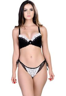Conjunto Yasmin Lingerie Chic 22 Preto/Branco