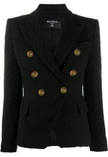Balmain Jaqueta De Tweed Com Abotoamento Duplo - Preto