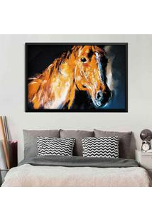 Quadro Love Decor Com Moldura Brown Horse Preto Grande