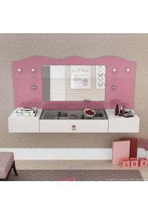 Penteadeira Suspensa 2 Portas E 1 Gaveta Com Espelho Vip Branco/Pink/Branco - Colibri
