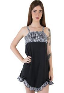 Camisola Linha Noite De Malha Ref. 100 - Feminino-Preto