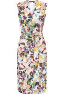 Vestido Decote V Ombreiras - Bege