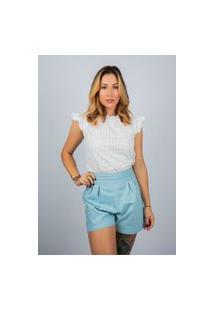 Blusa De Laise Com Manguinha Franzida Marina Branco Multicolorido