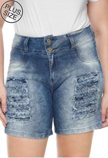 Bermuda Jeans Lunender Mais Mulher Plus Reta Destroyed Azul