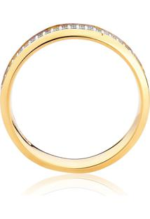 Aliança De Ouro 18K Reta Chanfrada Com Diamante Rodinada (4,40Mm)