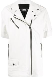 Karl Lagerfeld Leather Biker Gilet - Branco
