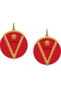 Versace Medusa Motif Disc Earrings - Vermelho