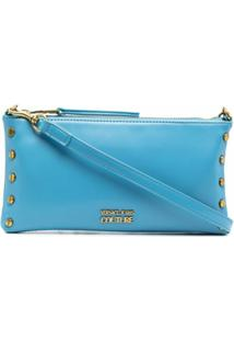 Versace Jeans Couture Logo-Plaque Clutch Bag - Azul