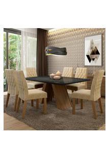 Conjunto Sala De Jantar Madesa Vanessa Mesa Tampo De Vidro Com 6 Cadeiras Marrom
