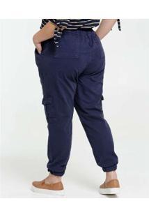 Calça Plus Size Feminina Sarja Jogger Cargo - Feminino-Azul