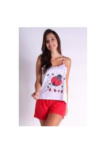 Pijama Curto Alcinha Bravaa Modas Baby Doll Short Blusinha 139 Vermelho