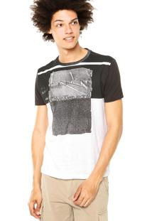 Camiseta Calvin Klein Jeans Estampa Recorte Preto/Branco
