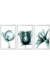 Quadro Oppen House 60X120Cm Flores Abstrato Transparentes Moldura Branca Estilo Raio X Decorativo Interiores Mod:Oh0016