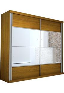 Guarda-Roupa Realce - 2 Portas Com Espelho - Noce