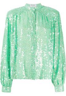 The Attico Mandarin Collar Embellished Silk Blouse - Verde