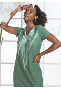 Vestido Midi Em Tecido Com Estampa Verde
