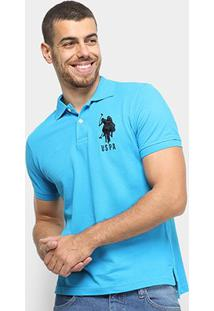 Camisa Polo U.S. Polo Assn Piquet Bordado Masculina - Masculino-Azul Turquesa
