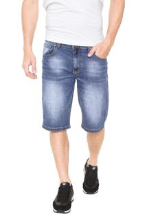 Bermuda Jeans Crocker Reta Estonada Azul