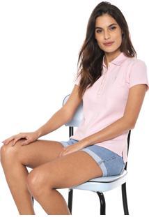 Camisa Polo Aleatory Logo Rosa