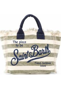 Mc2 Saint Barth Bolsa Listrada Com Logo Estampado - Neutro