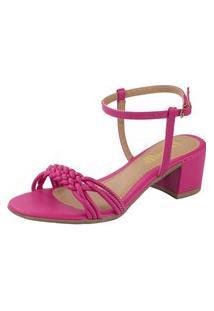 Sandalia Feminina Amorelle Salto Baixo Quadrado Grosso Pink 11