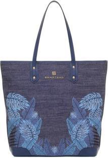 Bolsa Smartbag Tiracolo Folhas - Feminino-Jeans