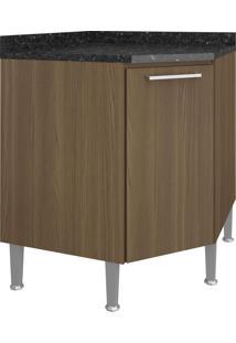 Balcão De Cozinha Para Canto 75 Cm 1 Porta 0879 Castanho - Genialflex