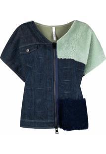 Suprema Jaqueta Jeans Com Recorte De Pelos - Azul