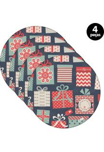 Capa Para Sousplat Mdecore Natal Presente Azul 4Pçs