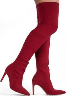 Bota Over Knee Tanara Tecido Feminina - Feminino-Vermelho