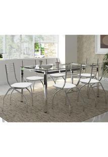 Mesa 328 Vidro Incolor Cromada Com 6 Cadeiras 146 Branca Carraro