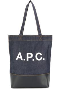 fd2b031a8 ... A.P.C. Bolsa Tote Jeans Com Logo - Azul