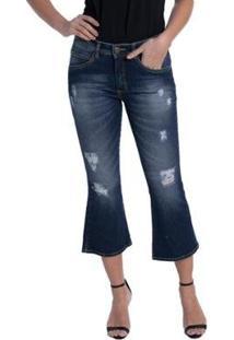 Calça Jeans Denuncia Flare Cropped New Feminina - Feminino