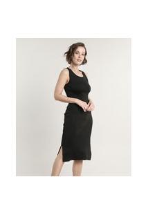 Vestido Feminino Midi Em Tricô Com Fenda Alças Médias Preto