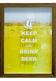 Quadro Keep Calm Beer 27X37X3 Cm Porta Tampinhas Cm Natural