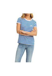 T-Shirt Tommy Jeans Stripe Ringer Azul E Branco Tam. P