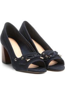 446e7d2088 ... Peep Toe Couro Shoestock Salto Grosso - Feminino-Marinho