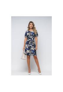Vestido Plena Curto Em Crepe - Pl-7923-Azul