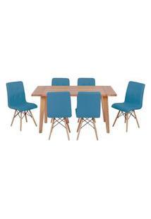 Conjunto Mesa De Jantar Em Madeira 150X80 Vértice + 6 Cadeiras Gomos - Turquesa